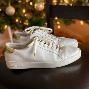Michael Kors White and Gold Sneakers